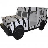 Jungle Jeep Bed with Zebra Stripes