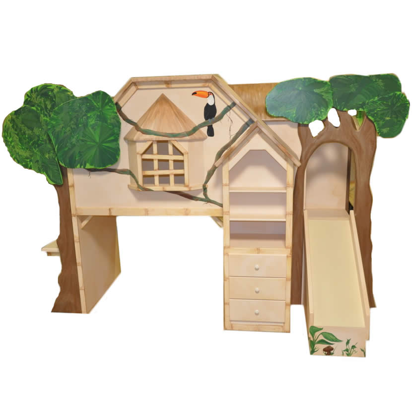 Tiki Treehouse Bed with Desk & Slide Thumbnail 2
