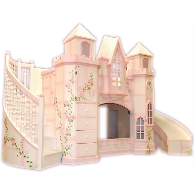 Vicarello Castle Bed w/ Curved Slide & Staircase