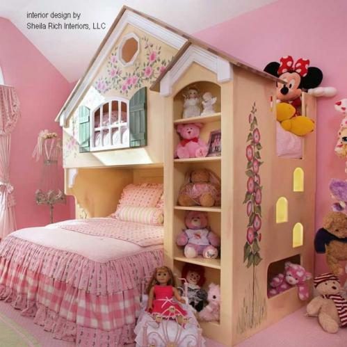 Maryville Dollhouse Loft Bed, Twin Over Full Thumbnail