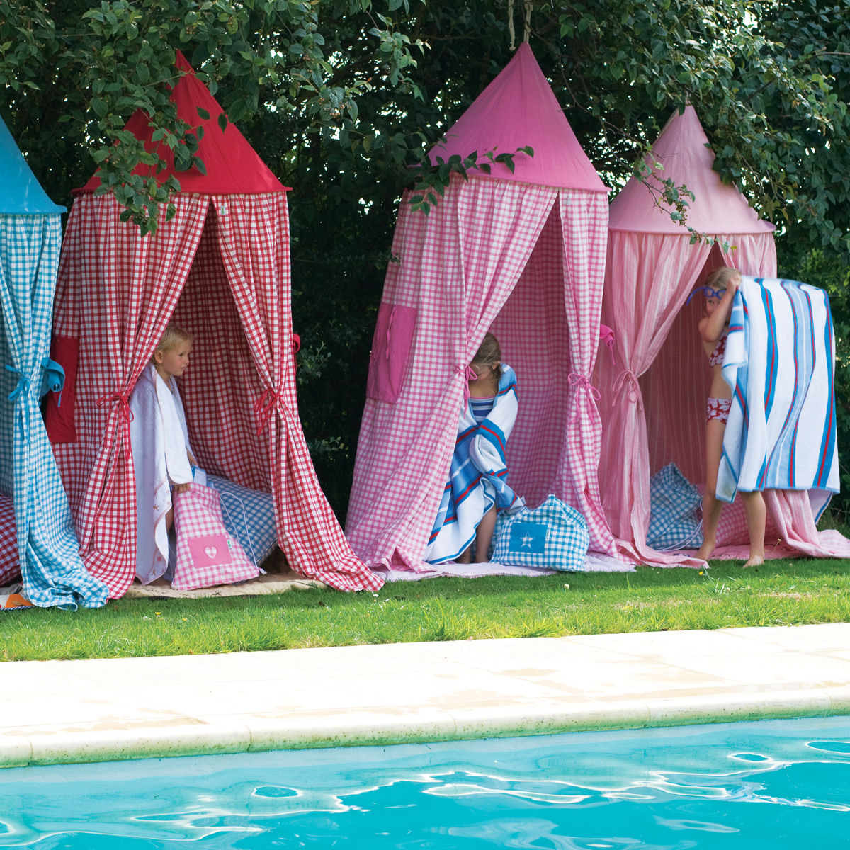 ... Sky Blue Gingham Hanging Tents Thumbnail 1 ... & Sky Blue Gingham Hanging Tents