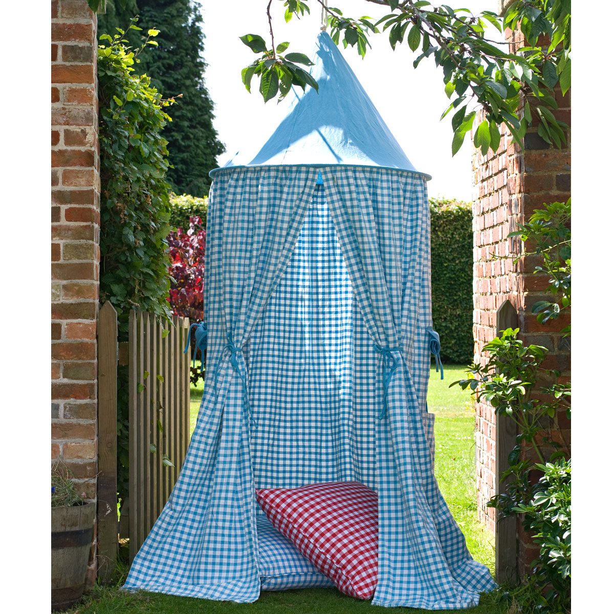 Sky Blue Gingham Hanging Tents Thumbnail 3