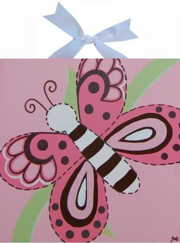 Circle Time Pink Pink Butterfly Canvas by Alli Taylor