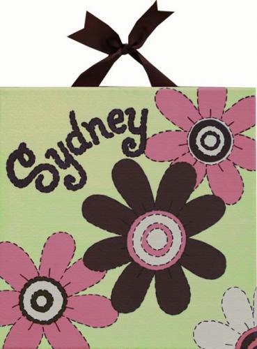Circle Time Pink Flower II Name Canvas by Alli Taylor