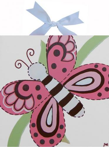Circle Time Pink White Butterfly Canvas by Alli Taylor