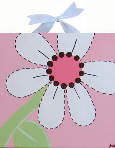 Circle Time Pink White Flower Canvas by Alli Taylor