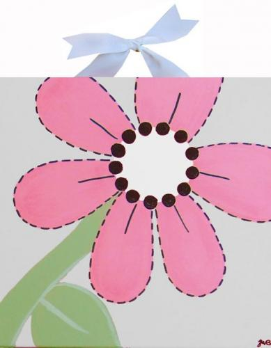 Circle Time Pink Flower Canvas by Alli Taylor