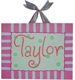 Taylor Striped Name Canvas II by Alli Taylor