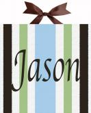 Circle Time Blue Striped Name Canvas by Alli Taylor