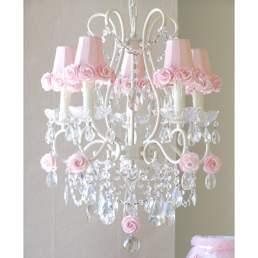5 Light Chandelier With Pink Rose Shades, Pink And White Chandelier Lamp Shades