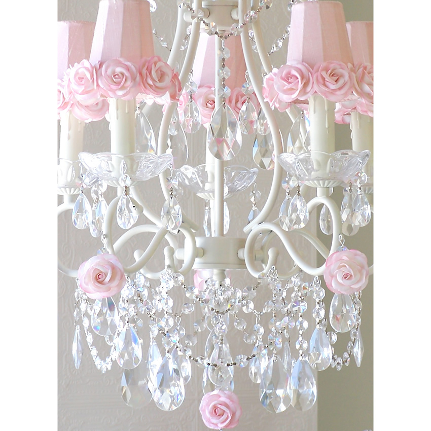 Light Chandelier WithPink Rose Shades - Chandelier crystals pink