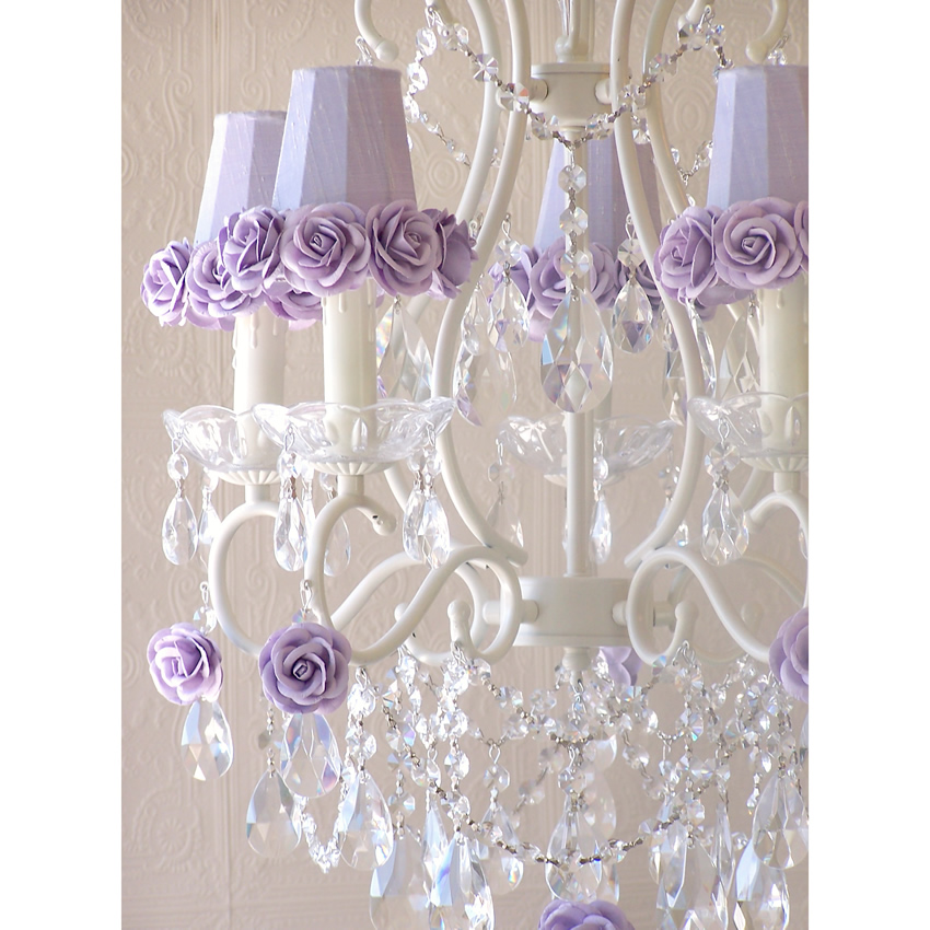 5 Light Chandelier with Lavender Rose Shades Thumbnail 1