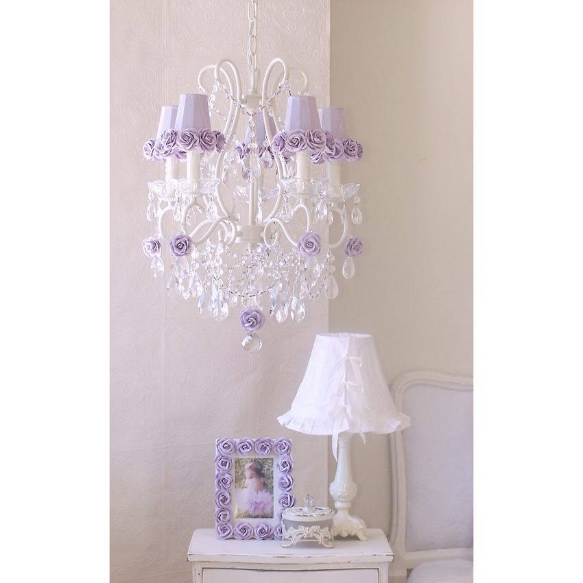 5 Light Chandelier with Lavender Rose Shades Thumbnail 2