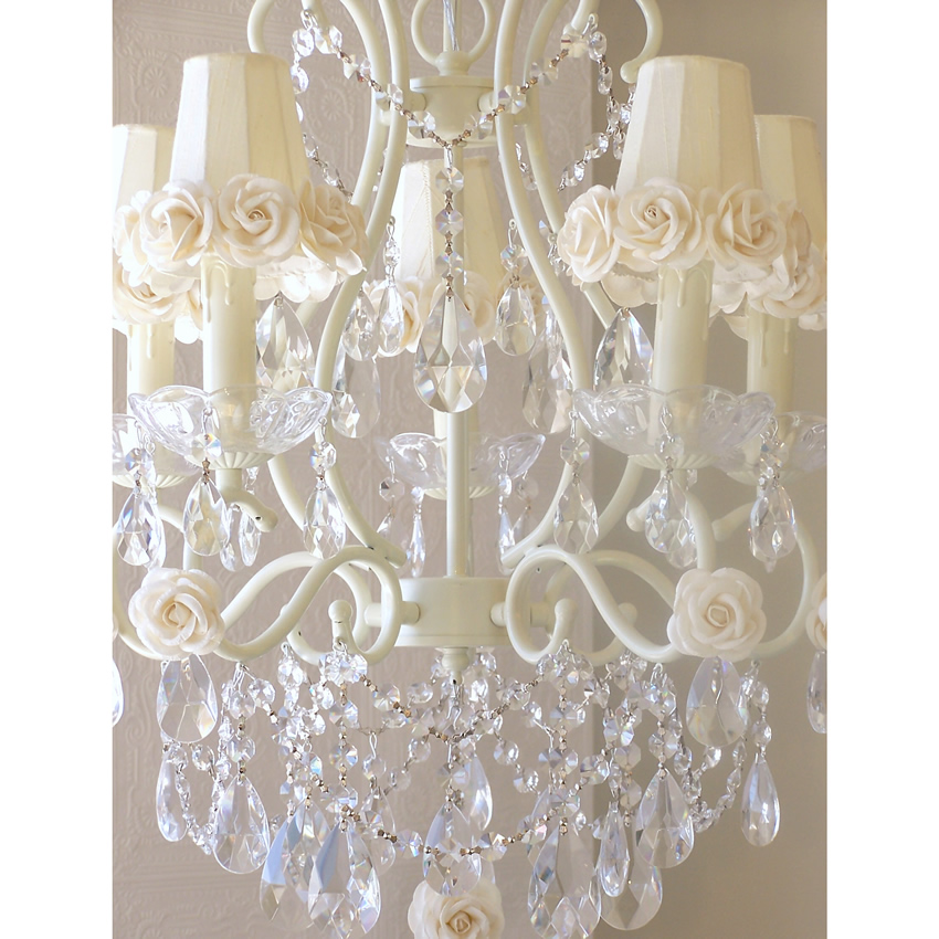 5 Light Chandelier with Cream Rose Shades Thumbnail 1