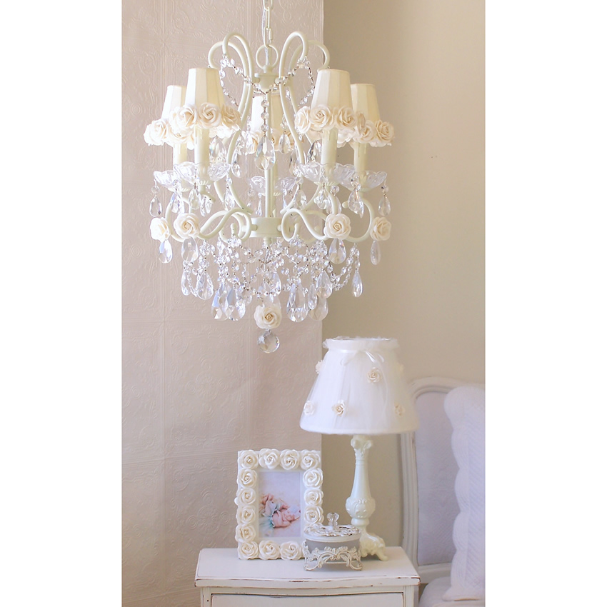 5 Light Chandelier with Cream Rose Shades Thumbnail 2