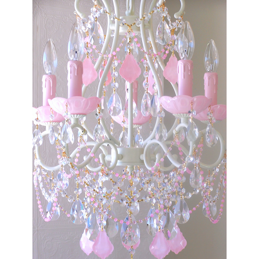 5 Light Beaded Chandelier with Opal Pink Crystals Thumbnail 1