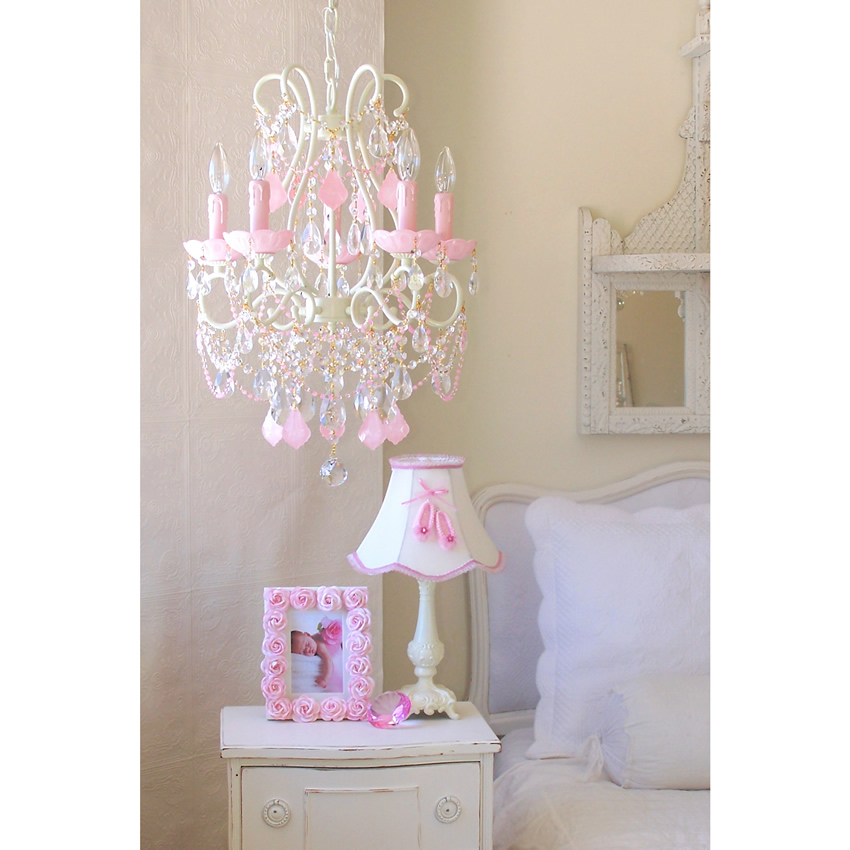 5 Light Beaded Chandelier with Opal Pink Crystals Thumbnail 2
