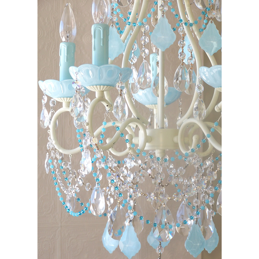Light Beaded Chandelier With Opal AquaBlue Crystals - Chandelier crystals blue