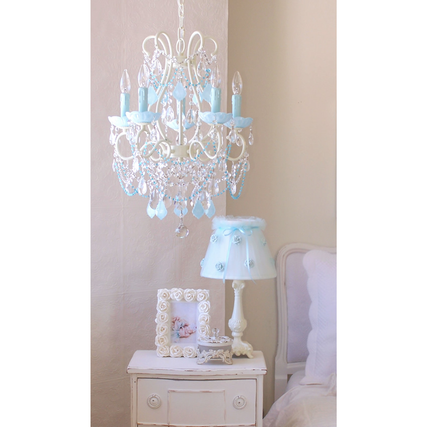 5 Light Beaded Chandelier with Opal Aqua-Blue Crystals Thumbnail 2