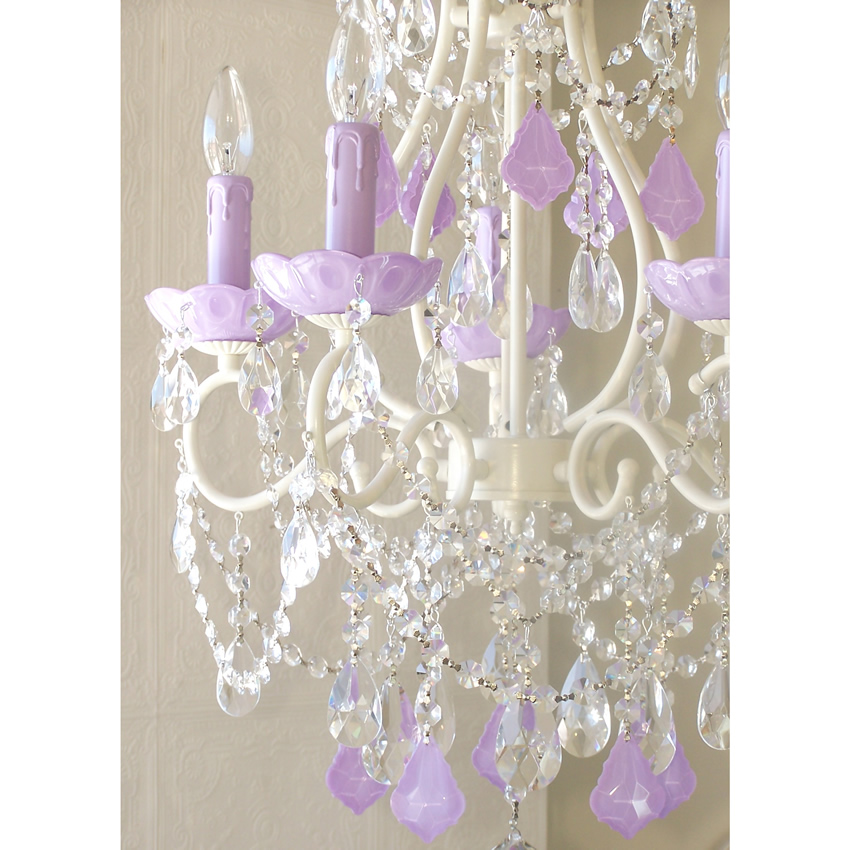 5 Light Chandelier with Opal Lavender Crystals Thumbnail 1