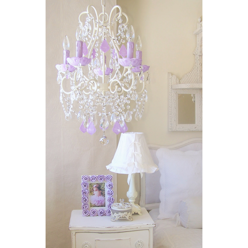 5 Light Chandelier with Opal Lavender Crystals Thumbnail 2