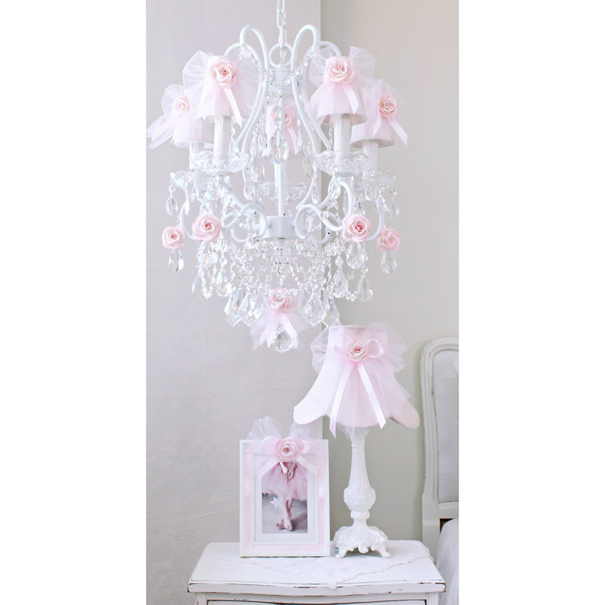 5 Light Chandelier with Pink Tulle Bow Shades Thumbnail 1