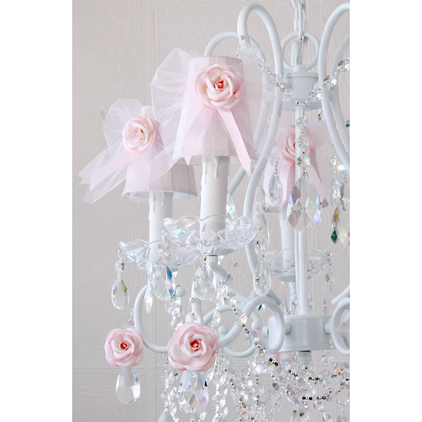 5 Light Chandelier with Pink Tulle Bow Shades Thumbnail 2