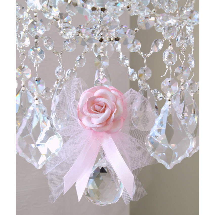 5 Light Chandelier with Pink Tulle Bow Shades Thumbnail 3