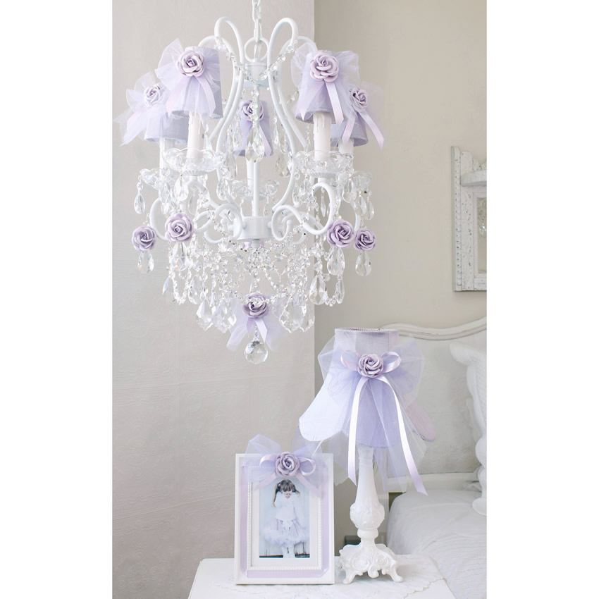 5 Light Chandelier with Lavender Tulle Bow Shades Thumbnail 1