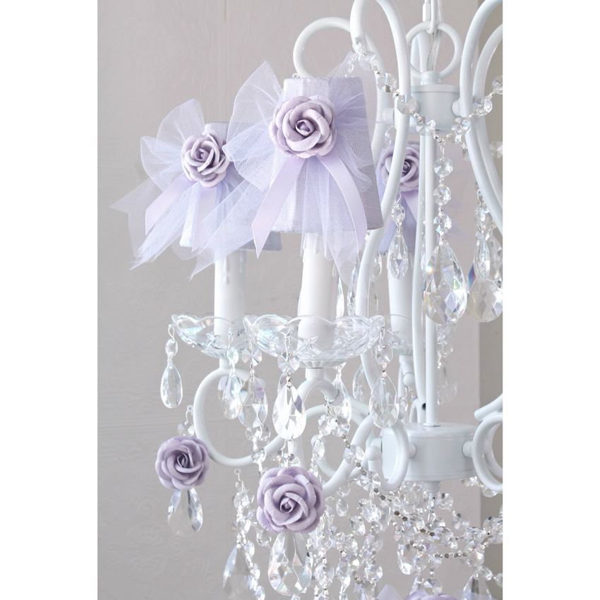 5 Light Chandelier with Lavender Tulle Bow Shades Thumbnail 2