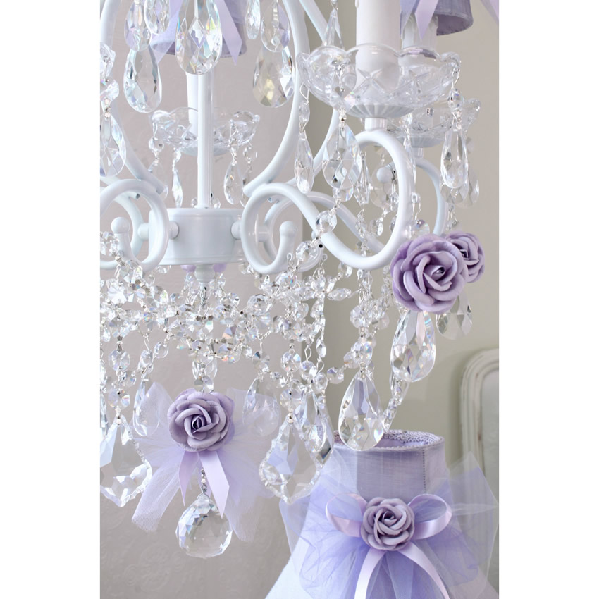 5 Light Chandelier with Lavender Tulle Bow Shades Thumbnail 3