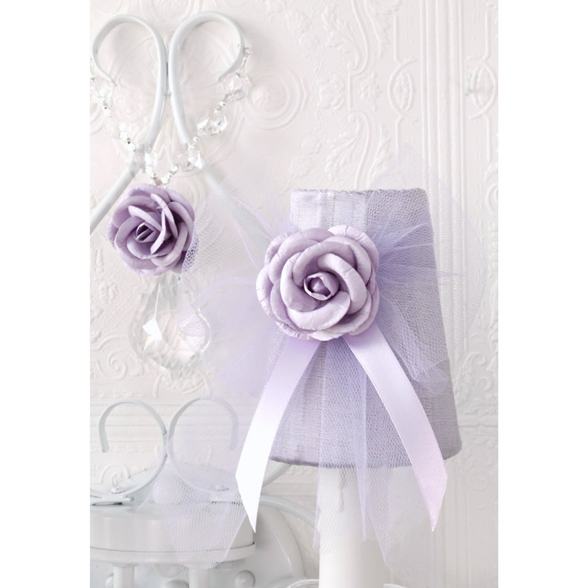 Double light Wall Sconce with Lavender Tulle Shades Thumbnail 1
