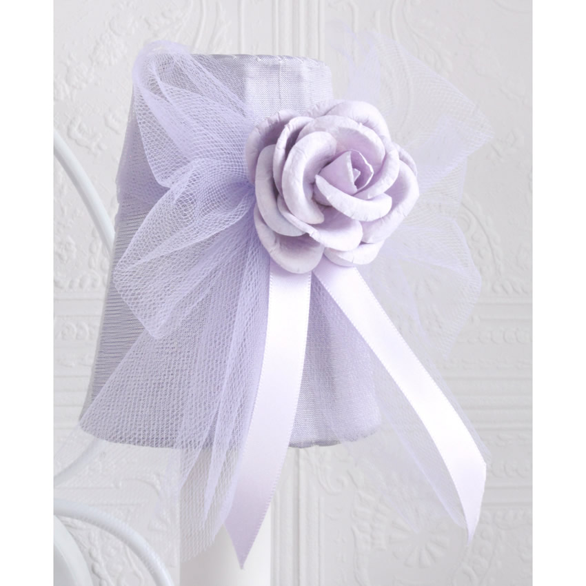 Double light Wall Sconce with Lavender Tulle Shades Thumbnail 2