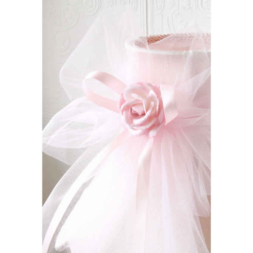 Pink Dupioni Silk Lamp Shade With Tulle Bow Thumbnail 1