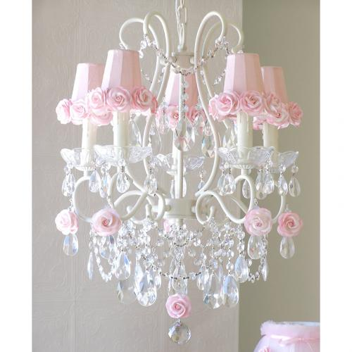 5 Light Chandelier with Pink Rose Shades Thumbnail