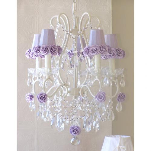 5 Light Chandelier with Lavender Rose Shades Thumbnail