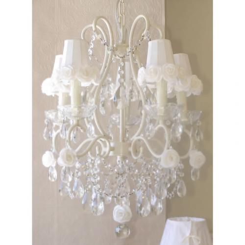 5 Light Chandelier with White Rose Shades