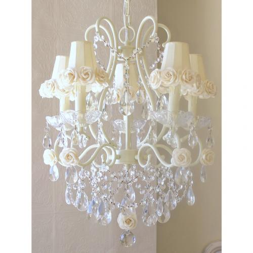 5 Light Chandelier with Cream Rose Shades Thumbnail