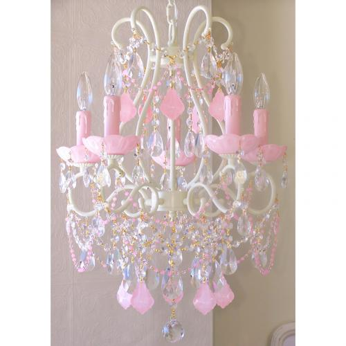 5 Light Beaded Chandelier with Opal Pink Crystals Thumbnail
