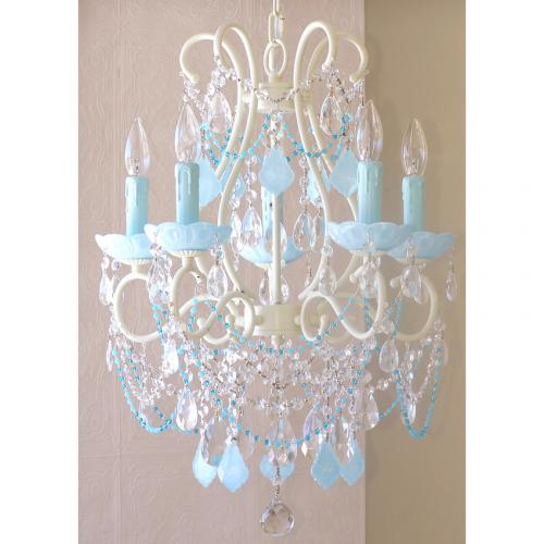 5 Light Beaded Chandelier with Opal Aqua-Blue Crystals Thumbnail