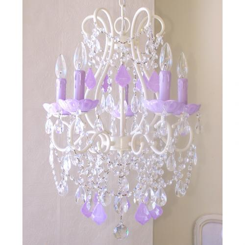 5 Light Chandelier with Opal Lavender Crystals Thumbnail