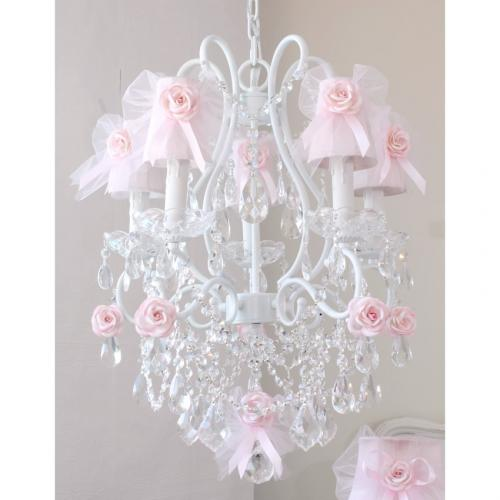 5 Light Chandelier with Pink Tulle Bow Shades Thumbnail