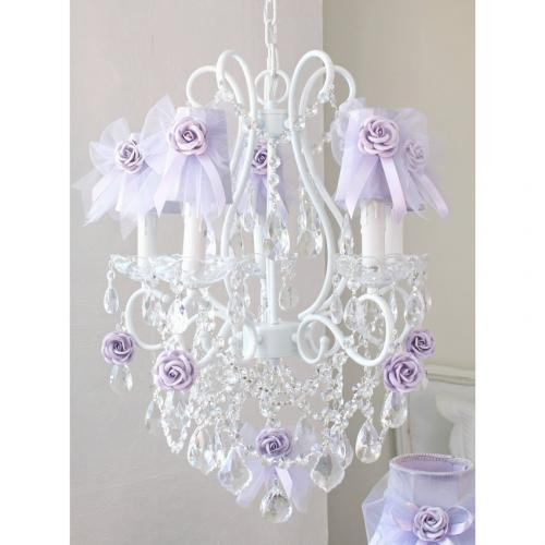 5 Light Chandelier with Lavender Tulle Bow Shades Thumbnail