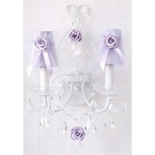 Double light Wall Sconce with Lavender Tulle Shades Thumbnail