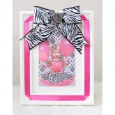 Personalized initial Picture Frame with Zebra Ribbon Bow