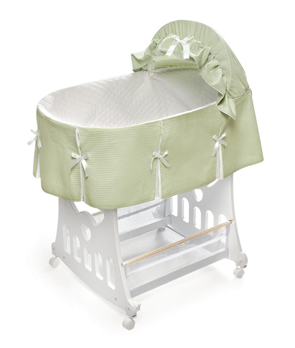 Pleated sage waffle portable bassinet 39 n cradle w toybox base Portable bassinet