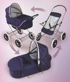 English Style 3-in-1 Doll Pram, Carrier, & Stroller