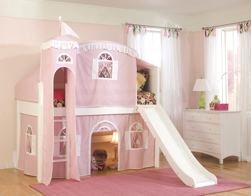 Cottage Castle Loft Bed w/ Slide (pink/white on white) by Bolton ...