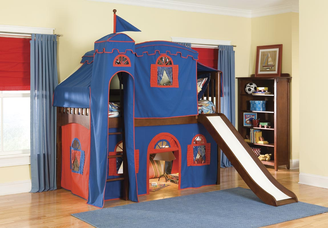 Bolton Kids Castle Loft Bed w/ Slide (red/blue on cherry)