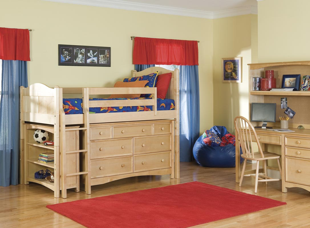 Bolton Kids Cottage Loft Bed W/ Wakefield Dresser U0026 Bookcase By Bolton Kids  (natural)